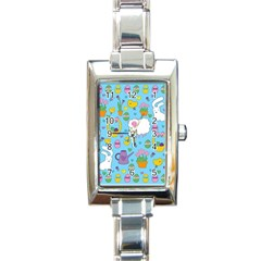Cute Easter Pattern Rectangle Italian Charm Watch by Valentinaart