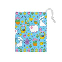Cute Easter Pattern Drawstring Pouches (medium)  by Valentinaart