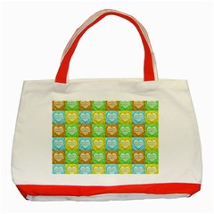 Colorful Happy Easter Theme Pattern Classic Tote Bag (red) by dflcprints