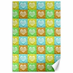 Colorful Happy Easter Theme Pattern Canvas 12  X 18   by dflcprints