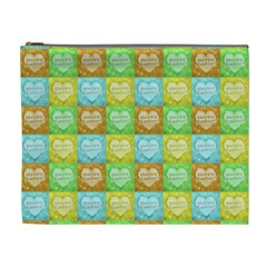 Colorful Happy Easter Theme Pattern Cosmetic Bag (xl) by dflcprints