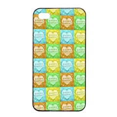 Colorful Happy Easter Theme Pattern Apple Iphone 4/4s Seamless Case (black) by dflcprints