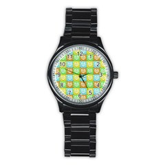 Colorful Happy Easter Theme Pattern Stainless Steel Round Watch by dflcprints