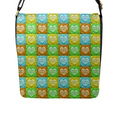 Colorful Happy Easter Theme Pattern Flap Messenger Bag (l)  by dflcprints