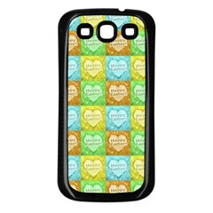 Colorful Happy Easter Theme Pattern Samsung Galaxy S3 Back Case (black) by dflcprints