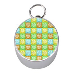 Colorful Happy Easter Theme Pattern Mini Silver Compasses by dflcprints