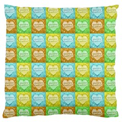 Colorful Happy Easter Theme Pattern Large Flano Cushion Case (one Side) by dflcprints