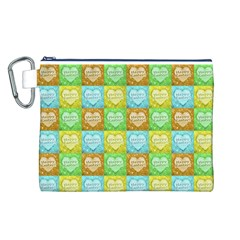 Colorful Happy Easter Theme Pattern Canvas Cosmetic Bag (l) by dflcprints