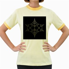 Drawing Of A White Spindle On Black Women s Fitted Ringer T Shirts