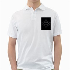 Drawing Of A White Spindle On Black Golf Shirts
