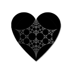 Drawing Of A White Spindle On Black Heart Magnet by Nexatart