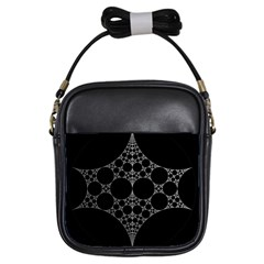 Drawing Of A White Spindle On Black Girls Sling Bags by Nexatart