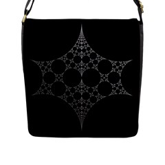 Drawing Of A White Spindle On Black Flap Messenger Bag (l)  by Nexatart