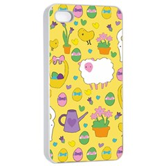 Cute Easter Pattern Apple Iphone 4/4s Seamless Case (white) by Valentinaart
