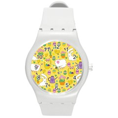 Cute Easter Pattern Round Plastic Sport Watch (m) by Valentinaart