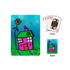 Cartoon Grunge Cat Wallpaper Background Playing Cards (mini)