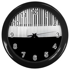 Piano Keys On The Black Background Wall Clocks (black) by Nexatart