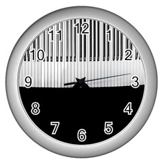 Piano Keys On The Black Background Wall Clocks (silver)  by Nexatart