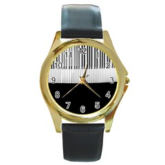 Piano Keys On The Black Background Round Gold Metal Watch