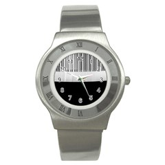 Piano Keys On The Black Background Stainless Steel Watch by Nexatart