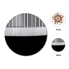 Piano Keys On The Black Background Playing Cards (round)