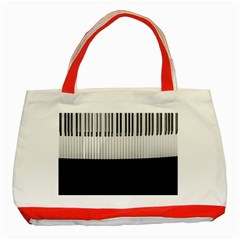 Piano Keys On The Black Background Classic Tote Bag (red) by Nexatart