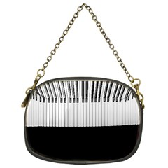 Piano Keys On The Black Background Chain Purses (one Side)  by Nexatart