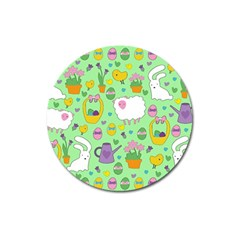 Cute Easter Pattern Magnet 3  (round) by Valentinaart