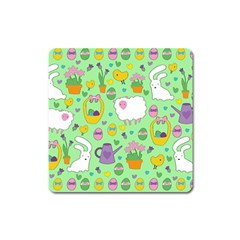 Cute Easter Pattern Square Magnet by Valentinaart