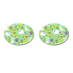 Cute Easter Pattern Cufflinks (oval) by Valentinaart