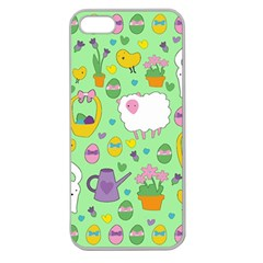 Cute Easter Pattern Apple Seamless Iphone 5 Case (clear) by Valentinaart