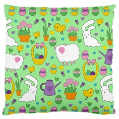 Cute Easter Pattern Large Flano Cushion Case (two Sides) by Valentinaart