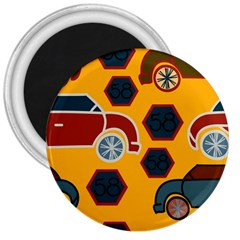 Husbands Cars Autos Pattern On A Yellow Background 3  Magnets by Nexatart