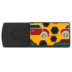 Husbands Cars Autos Pattern On A Yellow Background USB Flash Drive Rectangular (2 GB) by Nexatart
