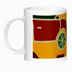 Husbands Cars Autos Pattern On A Yellow Background Night Luminous Mugs by Nexatart