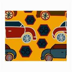 Husbands Cars Autos Pattern On A Yellow Background Small Glasses Cloth