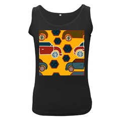 Husbands Cars Autos Pattern On A Yellow Background Women s Black Tank Top by Nexatart