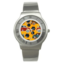 Husbands Cars Autos Pattern On A Yellow Background Stainless Steel Watch by Nexatart