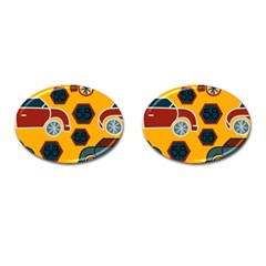 Husbands Cars Autos Pattern On A Yellow Background Cufflinks (oval) by Nexatart
