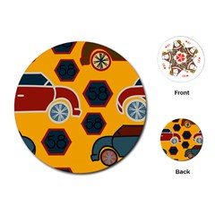 Husbands Cars Autos Pattern On A Yellow Background Playing Cards (round)