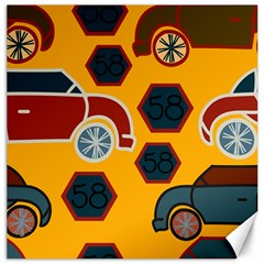 Husbands Cars Autos Pattern On A Yellow Background Canvas 16  X 16