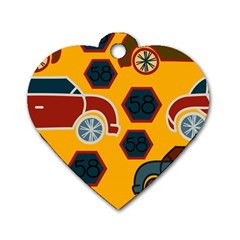 Husbands Cars Autos Pattern On A Yellow Background Dog Tag Heart (one Side)