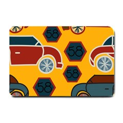Husbands Cars Autos Pattern On A Yellow Background Small Doormat  by Nexatart