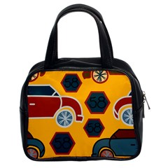 Husbands Cars Autos Pattern On A Yellow Background Classic Handbags (2 Sides)