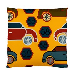 Husbands Cars Autos Pattern On A Yellow Background Standard Cushion Case (one Side)