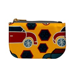 Husbands Cars Autos Pattern On A Yellow Background Mini Coin Purses