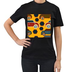 Husbands Cars Autos Pattern On A Yellow Background Women s T Shirt (black) by Nexatart