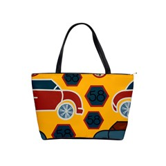 Husbands Cars Autos Pattern On A Yellow Background Shoulder Handbags by Nexatart