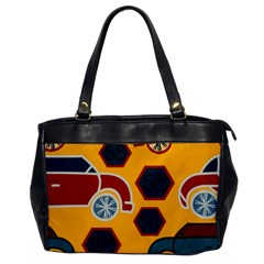Husbands Cars Autos Pattern On A Yellow Background Office Handbags by Nexatart