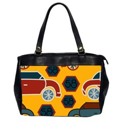 Husbands Cars Autos Pattern On A Yellow Background Office Handbags (2 Sides)  by Nexatart